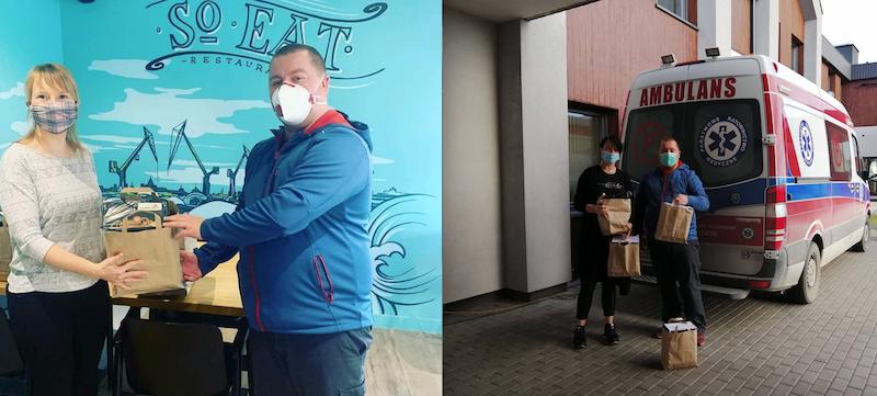 Zdjęcie po lewej: Kobieta w blond włosach przekazuje box z jedzeniem mężczyźnie w niebieskiej bluzie. Zdjęcie po prawej: ten sam mężczyzna i kobieta w czarnych włosach stoją na tle karetki