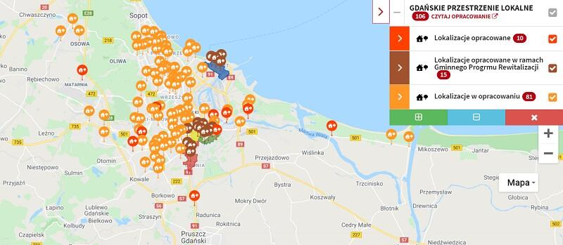 Interaktywną mapkę można znaleźć na stronie internetowej Biura Rozwoju Gdańska