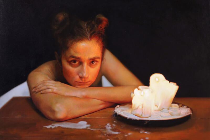 """Anna Wypych """"Podstawowa rzecz"""" (""""Fundamental Thing ), olej na płótnie 40/50 cm, 2018 r."""