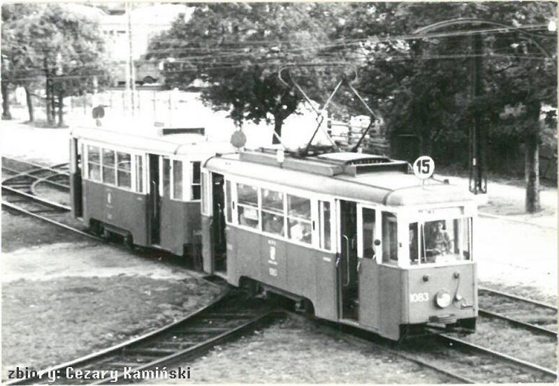 Skład 4N+4ND na linii 15 w kierunku Oliwy, lata 60-te XX wieku