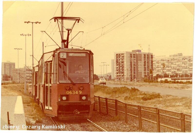 Skład tramwajów 105Na na linii 2 kieruje się do Centrum, lata 80-te XX wieku, Gdańsk