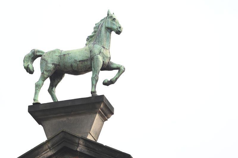 Koń na szczycie budynku Domu Harcerza w Gdańsku