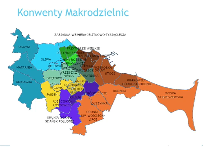 Tak podzielone byłyby gdańskie dzielnice w przypadku organizacji konwentów makrodzielnicowych