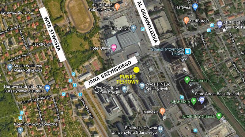 Mapa google fragmentu miasta, na którym żółta kropką zaznaczono centrum testowe