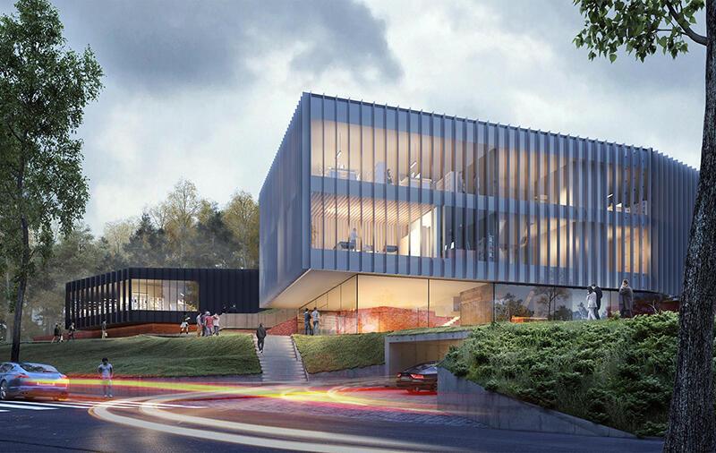 Centrum Kompetencji STOS będzie jednym z najbardziej innowacyjnych centrów informatycznych w Europie. Powstaje przy Politechnice Gdańskiej. Nz. wizualizacja inwestycji - fragment gmachu głównego