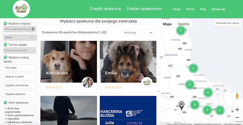 Wśród propozycji w serwisie pethomer.com  prócz spacerów z psem, znajdziemy także: opiekę dzienną nad czworonogiem, opiekę długoterminową oraz karmienie