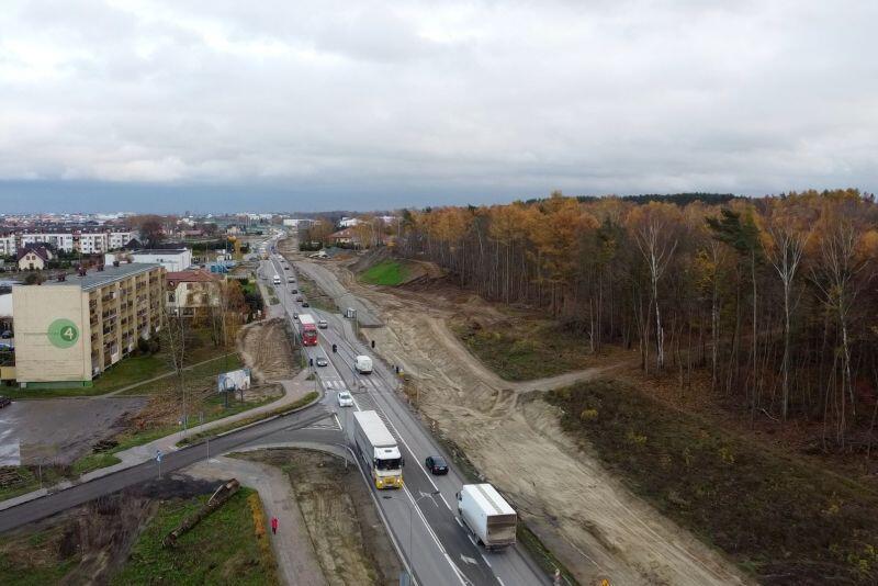 Przebudowywany odcinek ul. Kartuskiej