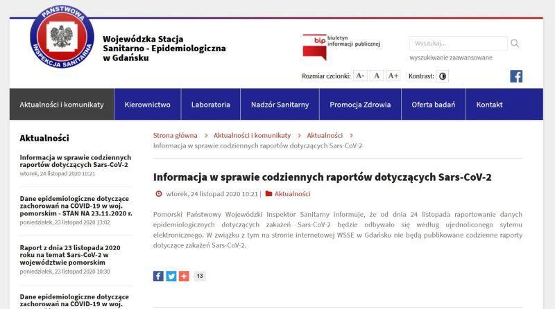 Komunikat na stronie internetowej Wojewódzkiej Stacji Sanitarno Epidemiologicznej w Gdańsku, zamieszczony we wtorek, 24 listopada