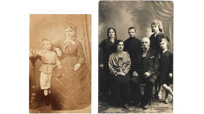 Z lewej: mały Leon Świechowski (ojciec pani Kaliny) ze swoją matką, Pauliną, 1874 rok; obok - rodzinny portret rodziców pani Kaliny z dziećmi z 1927 roku - nasza bohaterka stoi z lewej strony, nad matką, Martą Świechowską