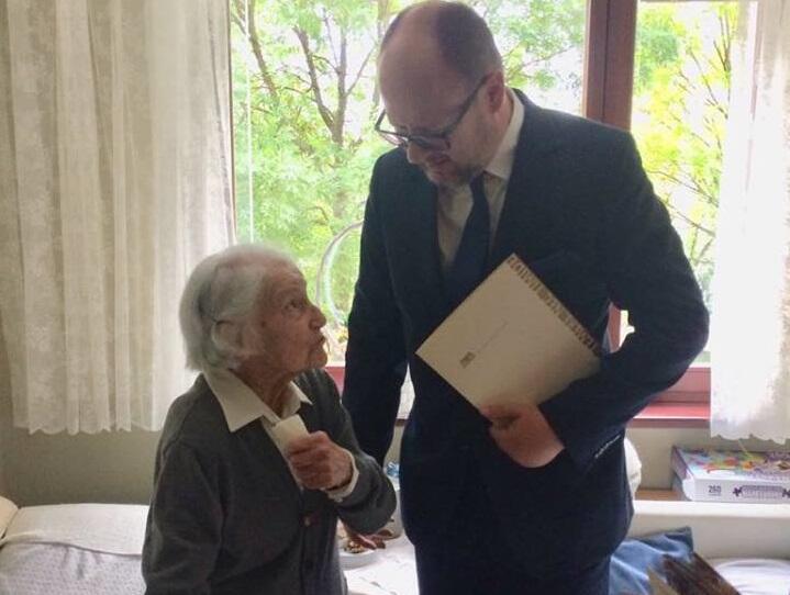Spotkanie pani Kaliny Łukaszewicz z prezydentem Gdańska Pawłem Adamowiczem, wrzesień 2018