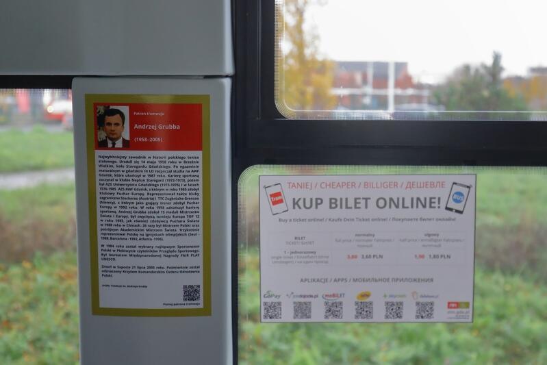 O patronie podróżnych informować będzie tabliczka z biografia sportowca umieszczona w tramwaju