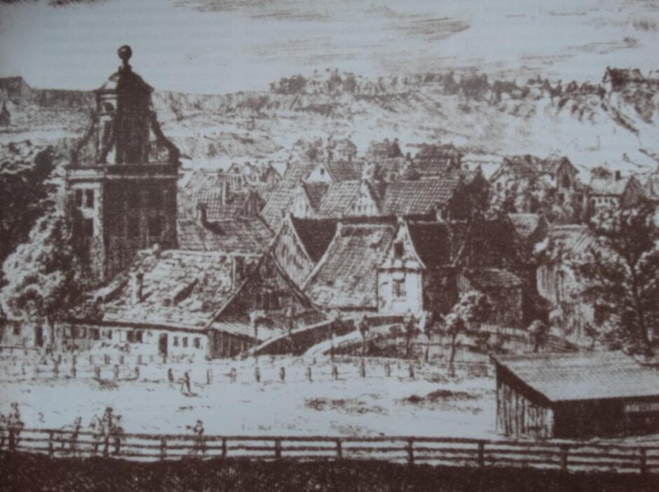 Zespół młyński naprzeciw Bramy Wyżynnej z dominującą wieżą ciśnień (po lewej), Matthaeus Deisch, rok 1765