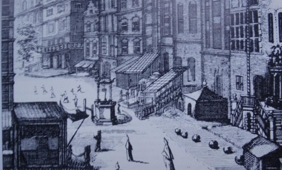 Jedna z publicznych studni na ulicy Długiej utrwalona przez Piotra Willera w 1687 roku