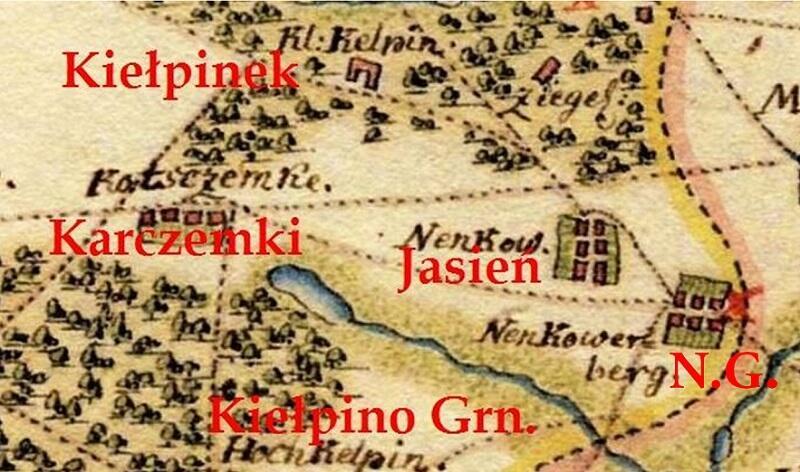 Tereny dzisiejszego Jasienia, mapa z 1780 roku