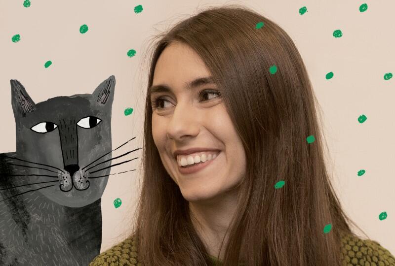 Joasia Czaplewska i kot Antoni