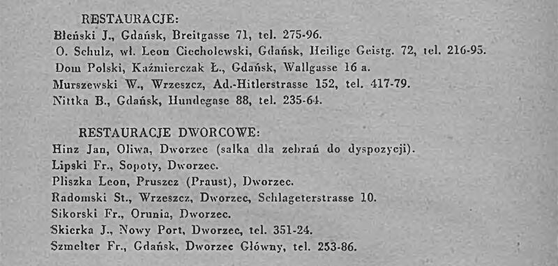lista nazw restauracji i nazwisk restauratorów w Gdańsku, ostatni napis na liście Szmelter Fr. Gdańsk Dworzec główny