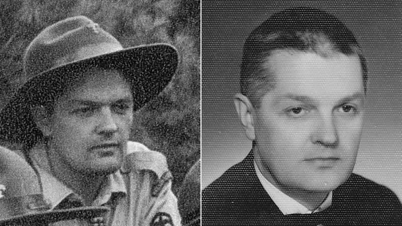 dwa zdjęcia tego samego mężczyzny, czarno białe. Młodszy - w mundurze i kapeluszu harcerskim, starszy, ok 40 lat w jasnej koszuli, ciemnej marynarce, z muszką, włosy zaczesane do tyłu, lekko siwiejący. Poważny.