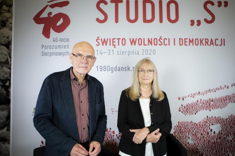 Barbara Szczepuła z mężem Markiem Ponikowskim, podczas gdańskich obchodów 40-lecia Sierpnia