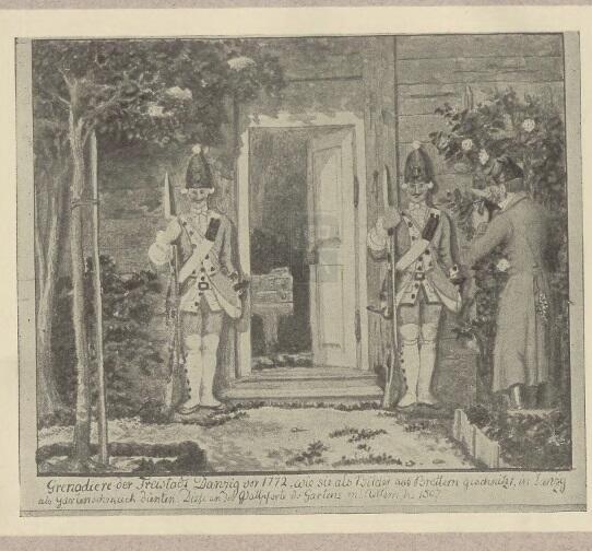 Figury grenadierów ustawione przy gdańskim domu, druga połowa XVIII wieku