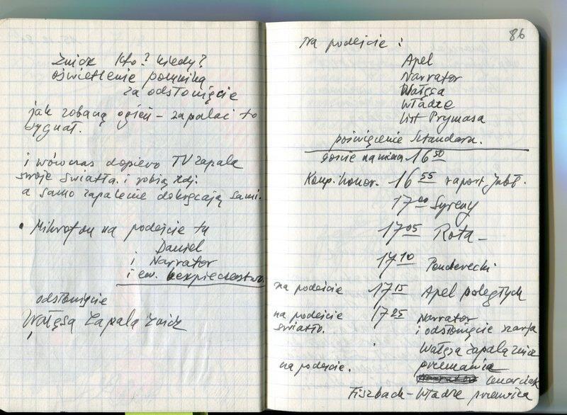 Kolejne strony notatnika Andrzeja Wajdy z zapiskami dotyczącymi uroczystości odsłonięcia pomnika Poległych Stoczniowców 1970 w Gdańsku