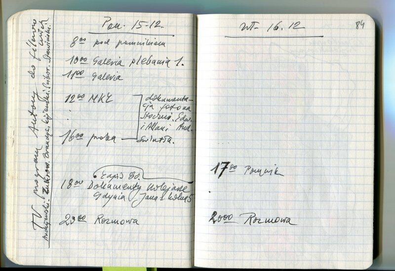 Kartki z notesu Andrzeja Wajdy z notatkami dotyczącymi uroczystości odsłonięcia pomnika Poległych Stoczniowców 1970 w Gdańsku
