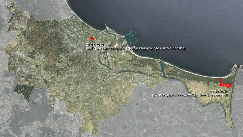Na mapie zaznaczono lokalizacje dwóch projektów miejscowych planów zagospodarowania przestrzennego