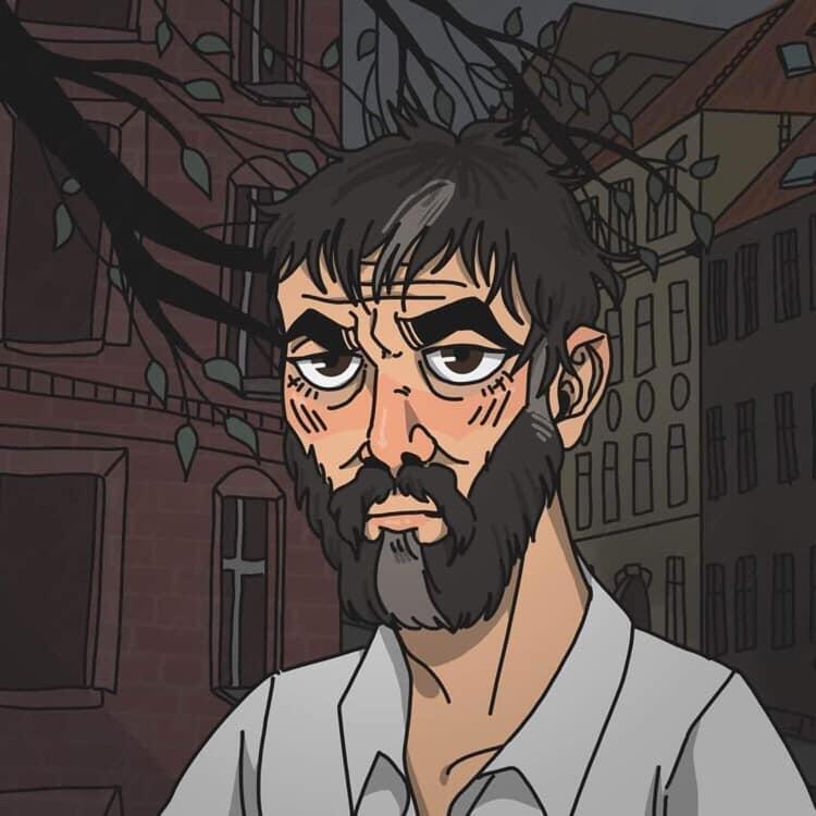 Ilustracja graficzna przestawiająca starszego, zaniedbanego mężczyznę z czarnymi włosami i zarostem