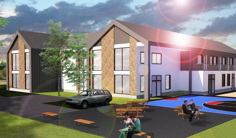 Przy budynku powstaną nowe miejsca parkingowe, plac zabaw, boisko do gry w koszykówkę