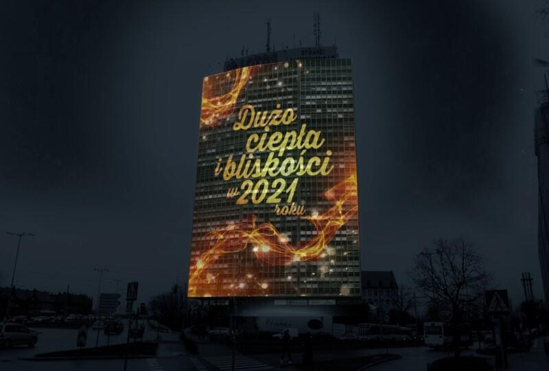 Wizualizacja noworocznego mappingu na Zieleniaku w Gdańsku