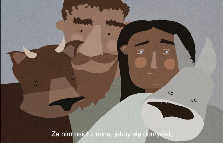 mężczyzna, kobieta, byk i osiołek - rysunek