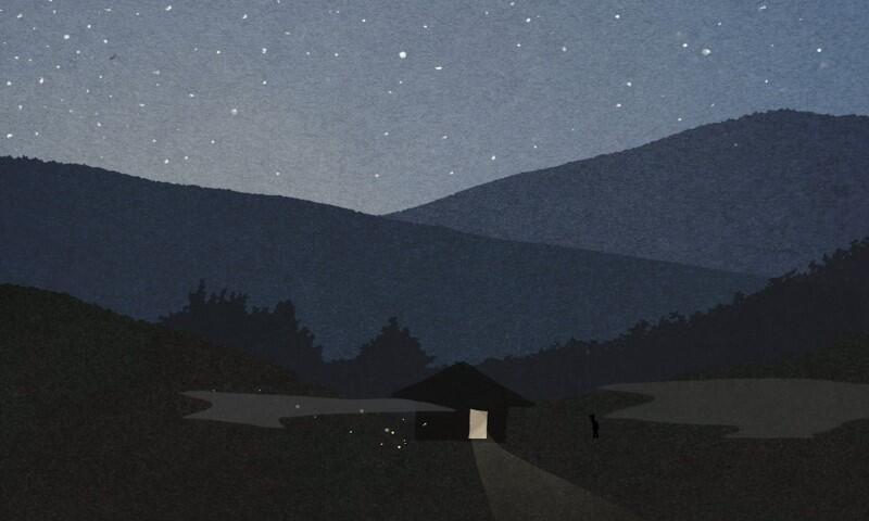 Nocą, rysunek gór i małej chaty pośrodku, w ciemnych kolorach