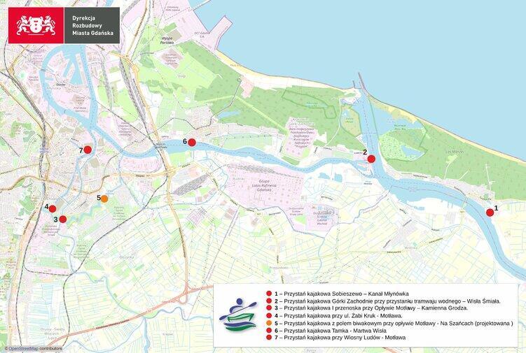 Mapa planowanych przystani kajakowych