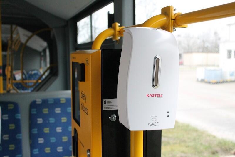 Takie dozownik zamontowane zostały w autobusach KPK w Białymstoku