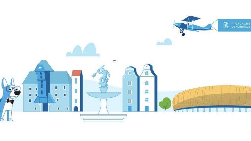 grafika rysunkowa, na której znajdują się: pies (z lewej strony), budynki oraz wizerunek Neptuna (w środku), bursztynowy stadion (z prawej). Na wizerunkiem stadionu samolot dwupłatowy ciągnący za sobą baner z napisem: PRZYJAZNE DEKLARACJE, nad budynkami dwie chmurki