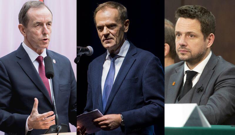 Tomasz Grodzki, marszałek Senatu, Donald Tusk, były premier i Rafał Trzaskowski, prezydent Warszawy