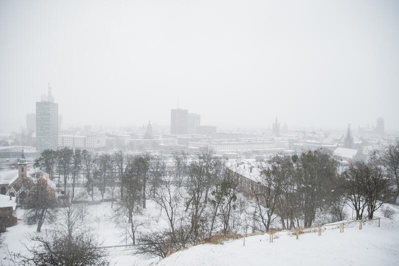 Widok na zimowy Gdańsk z Góry Gradowej