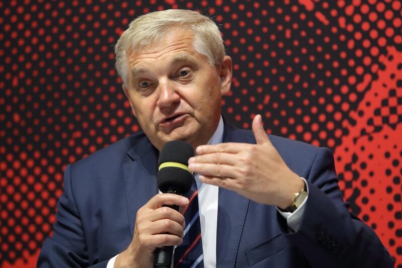 Prezydent Truskolaski podczas debaty Solidarność i Pokój. Miasto jako europejska wspólnota , która odbyła się w gdańskim ECS we wrześniu 2019 roku