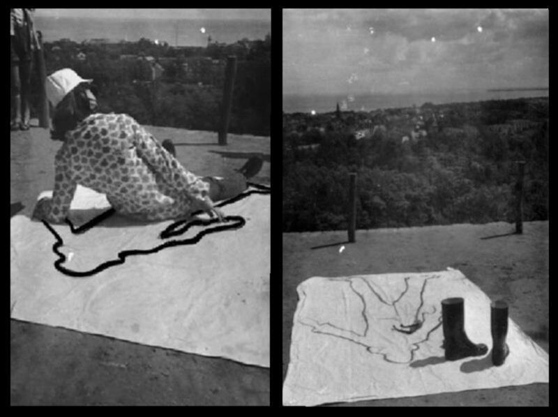 """Ewa Partum (ur. 1945 r. w Grodzisku Mazowieckim) - """"Obecność"""", 1965 r., fotografia czarno-biała na dibondzie, odbitka 2006, 50 x 70 cm, oprawiona w ramy, """"Nieobecność"""", 1965 r., fotografia czarno-biała na dibondzie, odbitka 2006, 50 x 70 cm, oprawiona w ramy"""