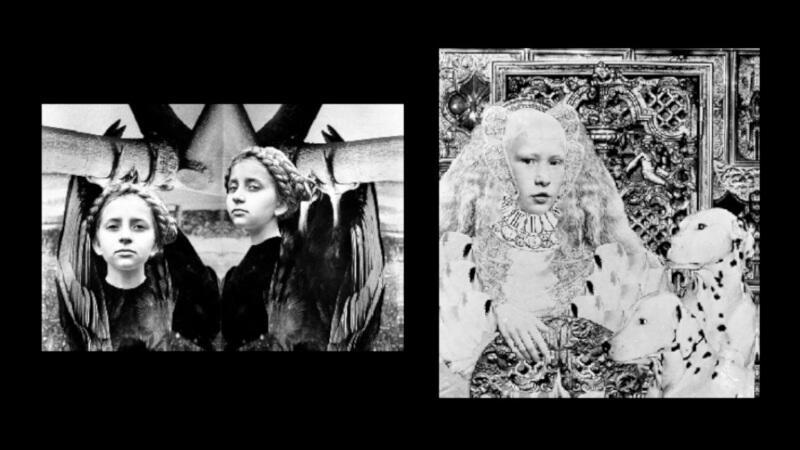 """Krystyna Andryszkiewicz (ur. 1955 r. w Gdańsku) - """"Zatruta studnia..."""", z cyklu """"Wnętrze z uwięzioną"""" (1979-1983), 1982 r., odbitka vintage, 36,5 x 26 cm, wersja czarno-biała; oraz """"Dalmatyńczyki..."""", z tego samego cyklu, odbitka vintage, 39 x 44 cm, wersja czarno-biała"""
