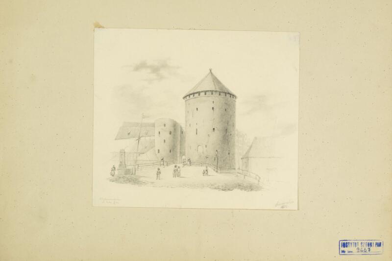 Brama Stągiewna z Basztami. Widok z mostu nad rzeką Nowa Motława. Georg T. Schirrmacher, 1850 rok