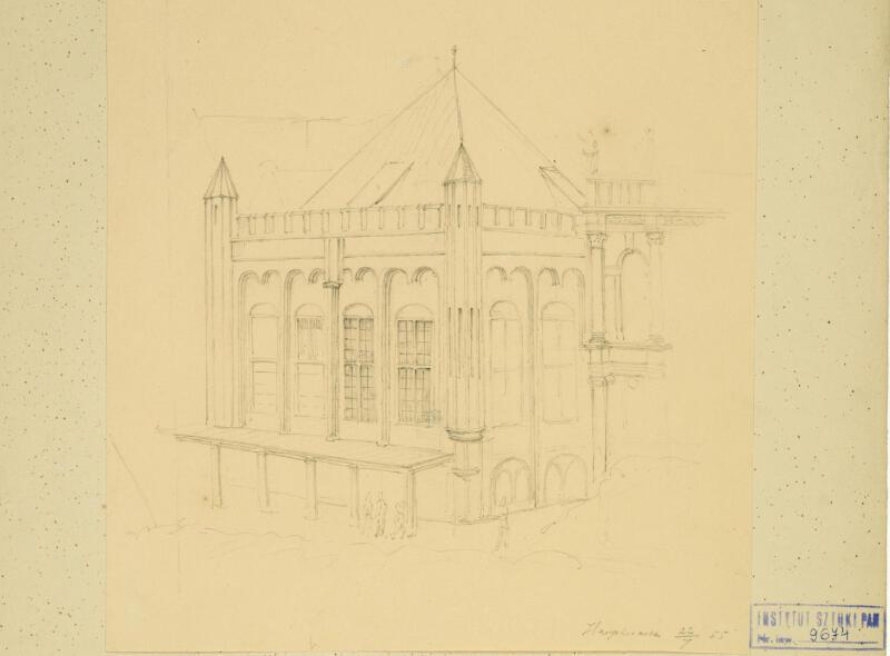 Dwór bractwa św. Jerzego, widok południowo-zachodni. Georg T. Schirrmacher, 1855 rok