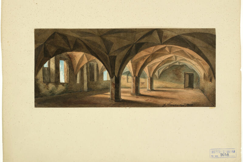 Dawny klasztor brygidek (niezachowany). Wnętrze refektarza według stanu z 1848 roku. Georg T. Schirrmacher, 1853 rok