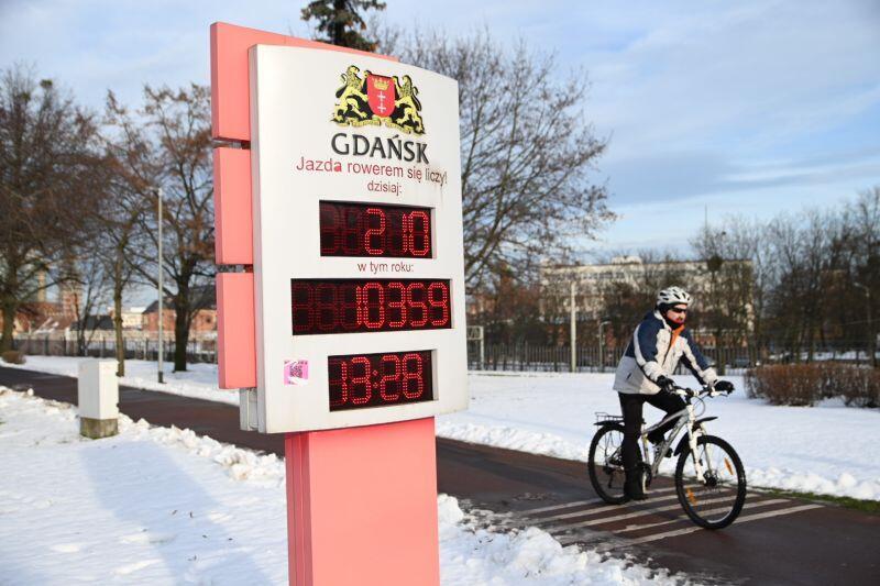Licznik rowerzystów na ul. 3 Maja pokazuje bieżącą i dobową liczbę rowerzystów