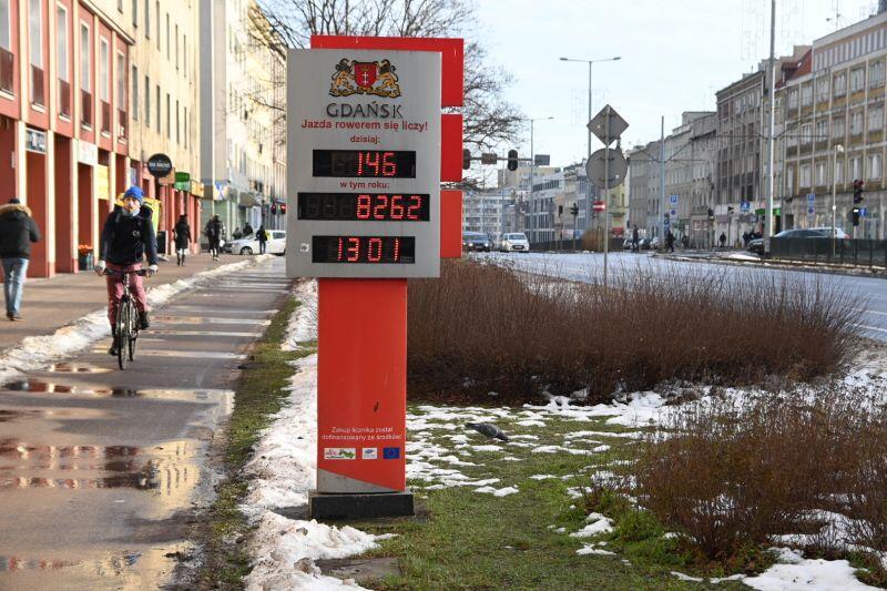 Drugi licznik rowerzystów, przy którym jest wyświetlacz znajduje się na al. Grunwaldzkiej we Wrzeszczu
