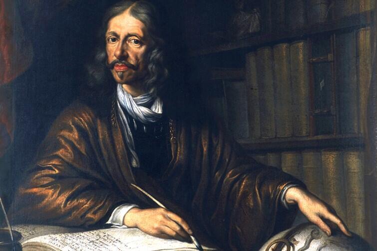 Portret Johannesa Heveliusa pędzla Daniela Schultza Młodszego. Jan Heweliusz urodził się w Gdańsku 28 stycznia 1611 roku. Tu mieszkał, tu też zmarł - w 1687 roku, również 28 stycznia