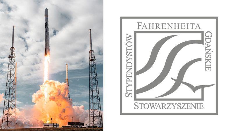 Rakieta Falcon 9 podczas startu 24 styczni i logo Stowarzyszenia Stypendystów Fahrenheita