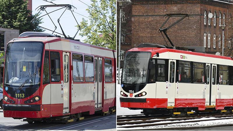 Wagon tramwajowy typu N8C przed i po (z lewej przed nowym malowaniem, z prawej po)