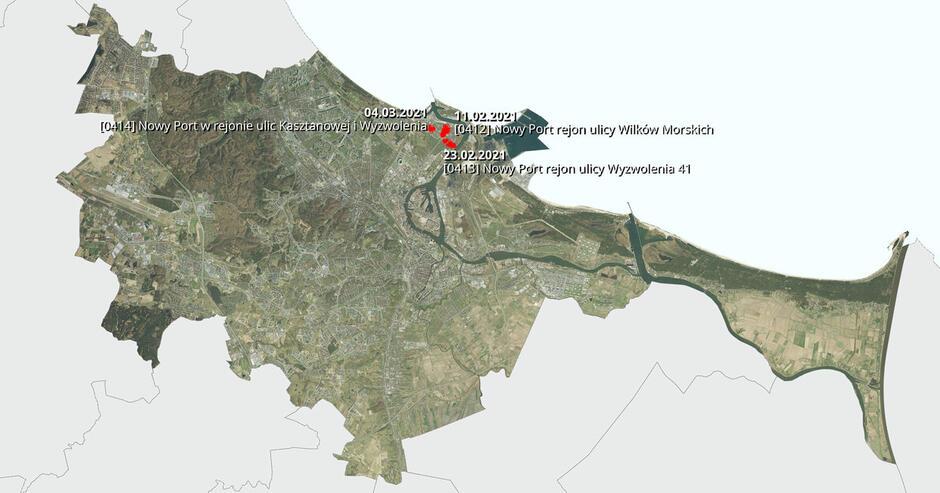 Na mapie zaznaczono lokalizacje trzech projektów miejscowych planów zagospodarowania przestrzennego