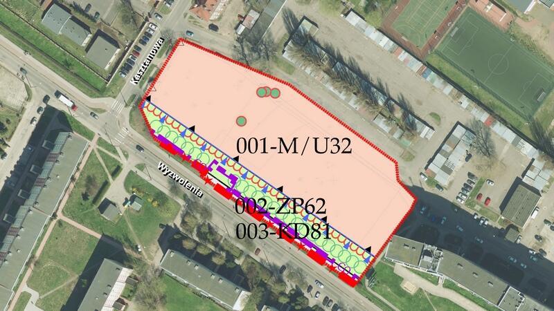 Granica planu Nowy Port w rejonie ulic Kasztanowej i Wyzwolenia