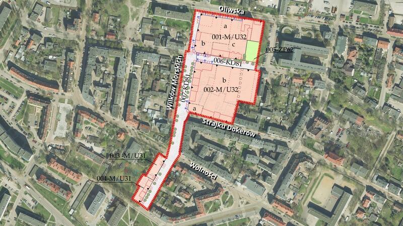 Granica planu Nowy Port rejon ulicy Wilków Morskich